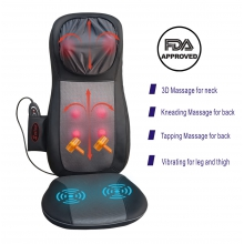 Massage Chair, Chair Massager for Back and Neck, Sotion Shiatsu, Kneadiing, Tapping Massage Seat Pad with Heat and Height Adjustment for Pain and Stress Relief of Neck, Back, Shoulder, Thighs and Hips